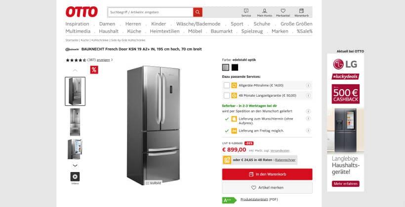 Screenshot eines Kühlschranks auf otto.de