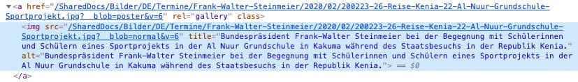 Beispiel-Code für ein Alt-Tag auf der Website des Bundespräsidenten