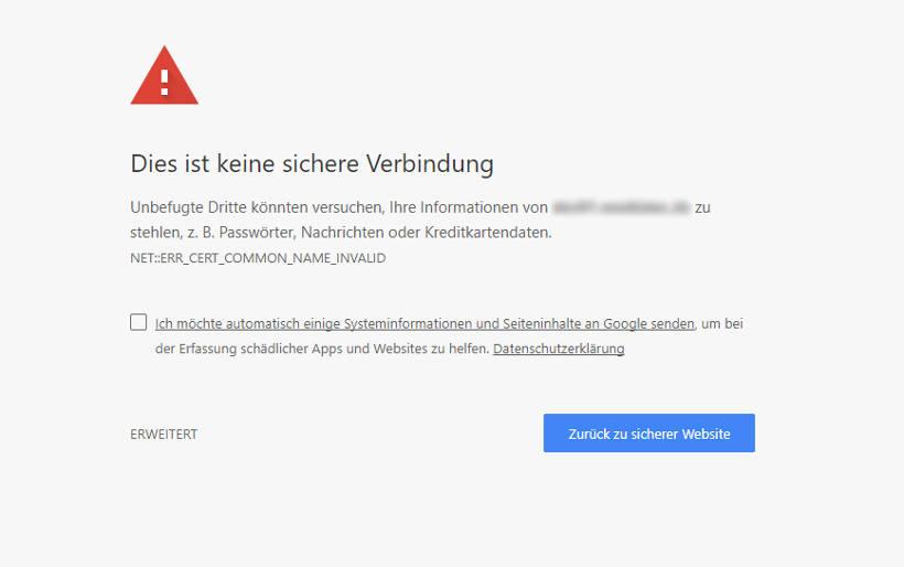 Fehler SSL-Zertifikat