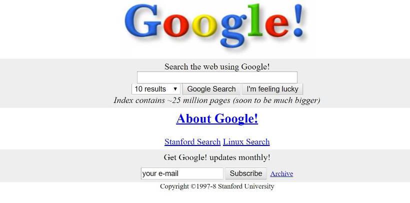 Google Screenshot 1998
