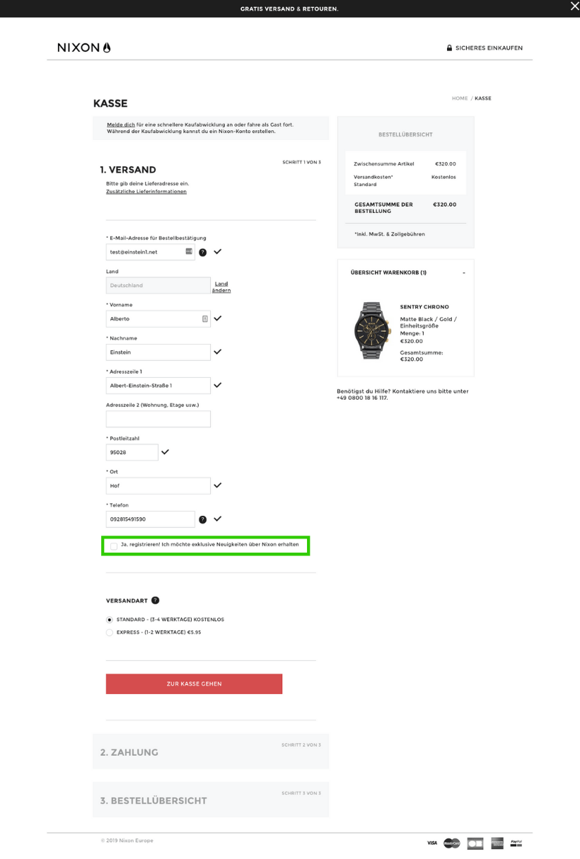 Newsletter Opt-In im Checkout-Prozess bei nixon.com