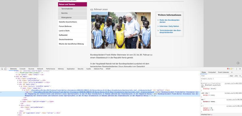 Screenshot der Website des Bundespräsidenten Frank-Walter Steinmeier