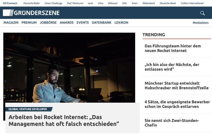 Screenshot von Gründerszene.de