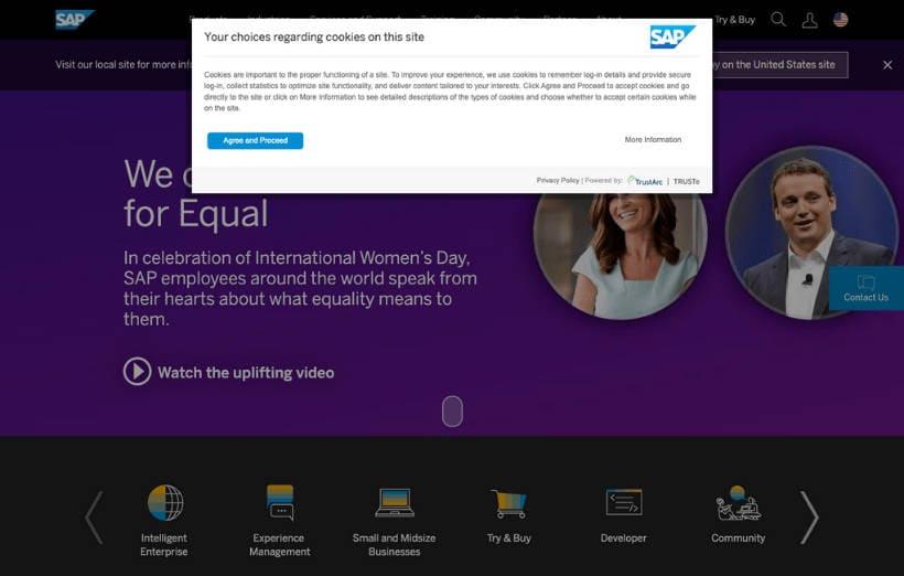Screenshot SAP Website Cokkie Consent Management