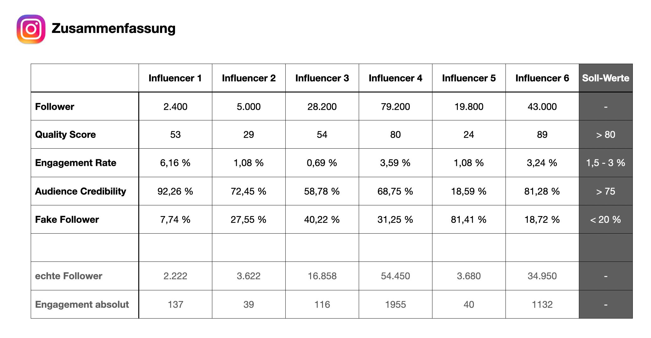 Übersicht der Influencer Analyse