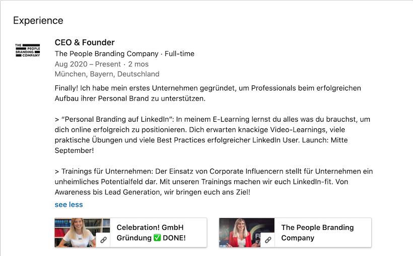 LinkedIn Experience Einstein1
